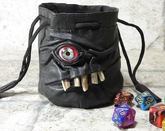 Würfel Tasche Marmor Tasche Fee mit Monster Gesicht ROLLENSPIEL Tasche Rune Beutel Magie der Versammlung Gamer Geschenk schwarz Leder 844