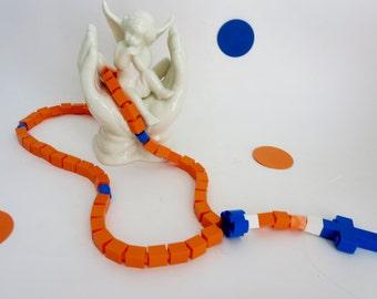 Catholic Kids Rosary - Orange  Blue and White Rosary Made of Lego® Bricks