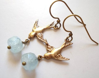 Aquamarine Swallow Earrings handmade natural aquamarine gemstone vintage finish oxidized brass long dangle drop flying bird feather wing