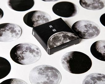 Moon Sticker Set,  Moon Phases Stickers Pack, Scrapbook, Space, Galaxy, Planner Sticker Pack
