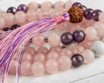 108 Mala Beads, Rose Quartz Mala, Buddhist Prayer Beads - Buddhist Rosary, Yoga Mala, Healing Stone Mala, Meditation Mala, Pink Mala