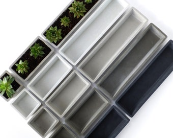 Concrete Succulent Planter Set - small, rectangular