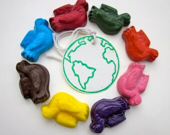 Peace on Earth, Soy CRAYONS,  Peace Doves, Eco Friendly, Natural Toy, Handmade Crayons, Eco Toy, Kids Craft, Stocking Stuffer, Gift for Kids