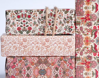 1800's English Wrapping Paper - Red Hues