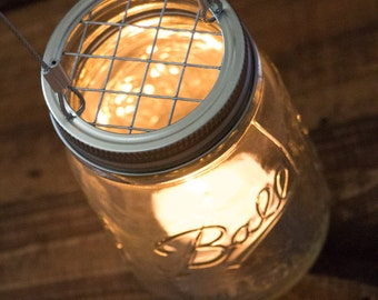 Set of 20 Hanging Mason Jar Candle Holders - Wire Hangers - Rustic Industrial Wedding - Patio Lighting - Ball Jar Candles - Canning Jars