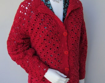Crochet Cardigan, Red Cardigan, Merino Cardigan, Crocheted Cardigan, Cardigan Women, Women's Cardigan Sweaters, Available in S