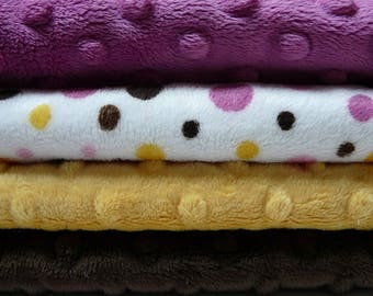 Lot 4 mango raspberry chocolate minky fabrics