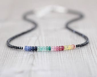 Sapphire, Ruby, Emerald & Black Spinel Necklace. Sterling Silver, Rose Gold Filled. Ombre Gemstone Beaded Choker. Delicate Layering Necklace