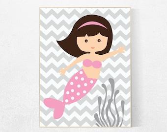 Mermaid nursery decor, girls room decor, girls room wall art, mermaid, toddler room, new baby gift, pink nursery decor, whale nursery art