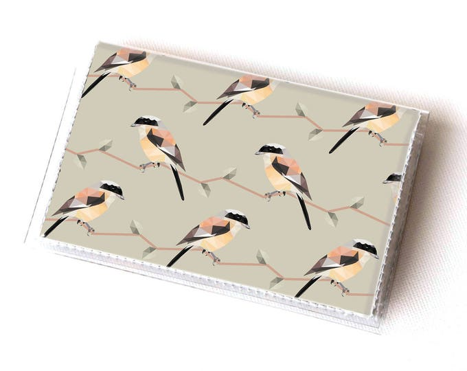 NEW Handmade Vinyl Card Holder - Geometric Birds / card case, vinyl wallet, women's wallet, small wallet, gift, bird, polka dot