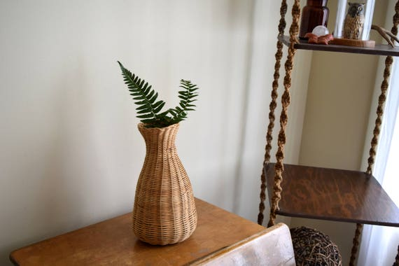 Tall Vintage Woven Basket Vase - Boho, Farmhouse, Natural, Eclectic