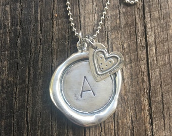 Sterling Silver Hand Stamped Wax Seal Initial Pendant with Sterling Silver Heart Charm