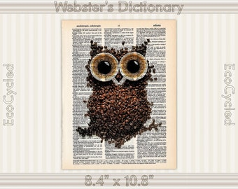 Coffee Owl Loves Coffee Vintage Upcycled Dictionary Art Print Book Lover Gift Caffeine Java Cup of Joe wall art prints decor literary gifts