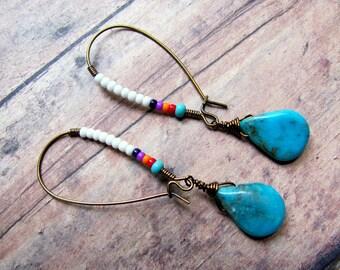 Turquoise Earrings, Teardrop Earrings, Southwest Earrings, Cowboy Earrings, Western Earrings, Southwest Jewelry, Turquoise Jewelry, Dangle