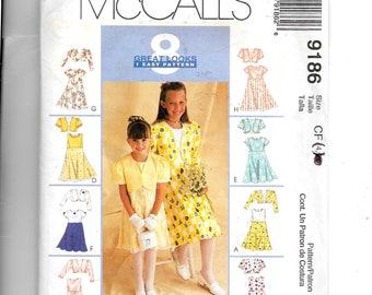 McCall's Girls' Lined Bolero and Dress Pattern 9186