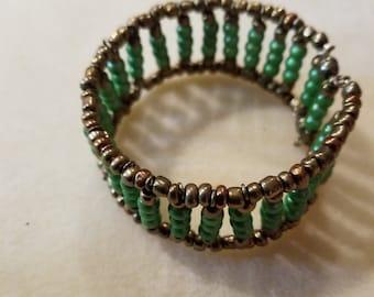 Brass and Green Cuff Bracelet