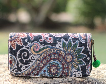 Black Paisley Boho Women's Wallet     Boho  Wallet  Purse    Hippie Wallet    Vegan Wallet   Fabric Wallet    Long Wallet   Gift for her