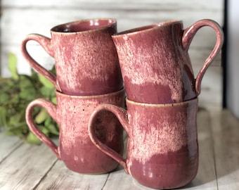 Pink Pottery Mug, Handmade Mug, Ceramic Mug, Dipped Mug, Farmhouse Mug, Coffee Mug, Coffee Gift, Girly Mug, Cute Mug, Rustic Mug
