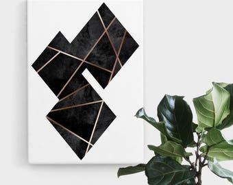 Black Rose Gold Diamond Print, Print Art, Geometric Art, Abstract Art, Scandinavian Print, Minimalist Art, Digital Art, Printable Art