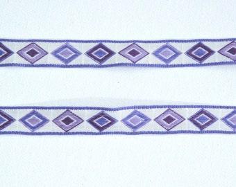 Vintage Jacquard Ribbon Trim - Purple & White Diamond Geometric - 3 yards - Sewing Notion Supplies