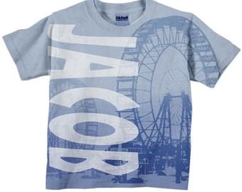 Boys Ferris Wheel T-Shirt, Personalized Toddler Circus Shirt