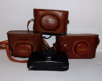 Collection of Vintage Leather Argus and Ansco Camera Cases  - 4 Pieces
