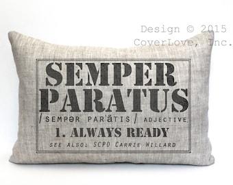 "semper paratus definition pillow, coast guard gift, military retirement gift, us coast guard gift, cost guard retirement- ""Semper Paratus 2"""