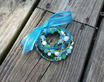 Blue and Green Multi Strand Bracelet, 6 Elastic Strands, All Glass Beads