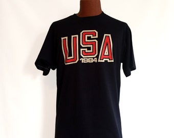 Vintage 1984 USA Olympics - Los Angeles T-Shirt XL // Sportwear // 50-50 // Games // Athletic // Retro // Throwback // 80s