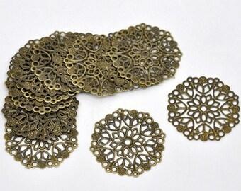 10 pcs Charms - Flower - Mandala - Color Antique Bronze 35mm