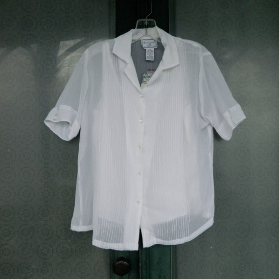 April Cornell Retro Short Sleeve Sheer White Blouse with Camisole -S-