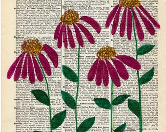 Hand Painted Artwork on Vintage Encyclopedia Page - Purple Coneflowers - Unique Wall Decor