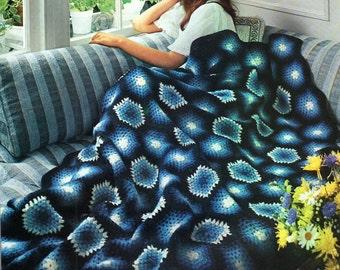 Afghan Crochet Pattern, Midnight Granny Square Crochet Afghan Pattern, Handmade Housewarming Gift,  PDF INSTANT Download Pattern (1014)