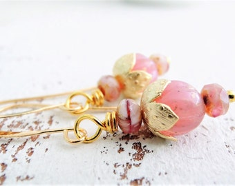 Delicate Rose Pink Gold Earrings Small Gold Earrings Wedding Jewelry Small Dangles Romantic Shabby Rose Earrings Bridesmaid Gift