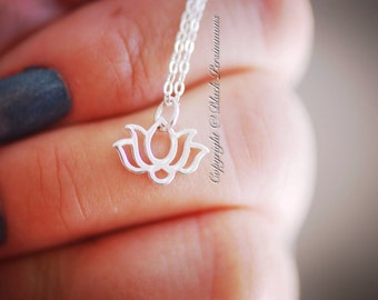 Wide Renge Necklace - Solid 925 Sterling Silver Tiny Lotus Flower Auspicious Feng Shui Charm - Insurance Included