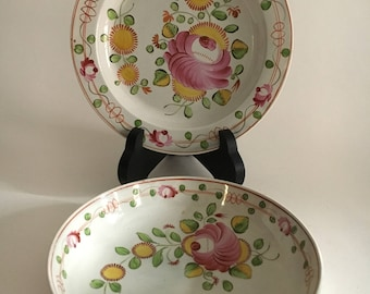 Gaudy Dutch Welch bowl Saucer King's Rose Early 18th c