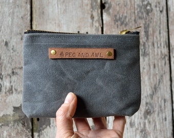 Grey Waxed Canvas Pouch, Slate, Small Zipper pouch, Zip Wallet, Traveler, Gift for Boyfriend, Gift for Her,Personalize Gift, Organize PCH6