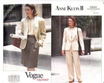Misses Jacket Skirt Pants Loose-fitting Front Tucks Side Pockets Raised Waist Vogue Sewing Pattern 2592 Uncut Sizes 12-14-16