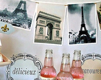 Parisian Printable Party Pack Kit, French, Instant Download Files