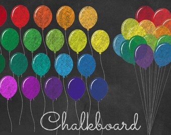 Rainbow Chalkboard Balloons Clipart, PNG Clip art set, chalk party balloons, chalkboard digital paper instant download commercial use