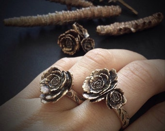 Rose Ring - Bronze Rose Ring - One of a Kind - hand built and cast in my studio - Jamie Spinello