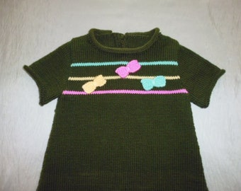Hand knitted baby 6 months dress