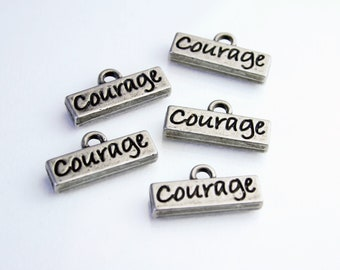Metal Charms - Antique Silver Toned Metal Word Charm - Courage  SUP 008