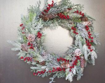 Christmas Evergreen Wreath, RAZ Christmas, Rustic Christmas Wreath, Frosted Wreath, Woodland Wreath, Winter Wreath Front Door