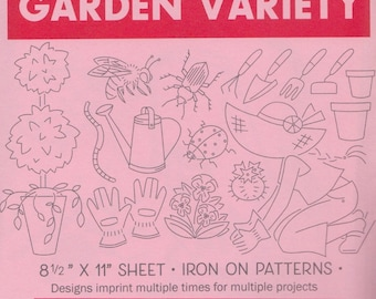 Modern Embroidery Pattern   Sublime Stitching Embroidery Patterns, Modern Hand Embroidery Design, Iron On Transfer - GARDEN VARIETY