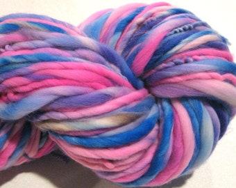 Super Bulky Handspun Yarn Anusara 106 yards hand dyed merino hot pink blue purple  waldorf doll hair knitting supplies crochet supplies