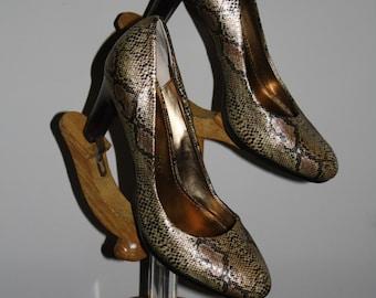 Vintage Snake Pumps Anne Klien Iflex Copper Black 8 women's Designer Heels Vintage Stock