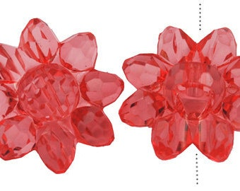 058- Transparent acrylic beads, faceted, sunflower red. 22mmx22mm  (10 pcs)