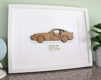 Datsun 240Z Blueprint, Laser Cut Wood, Datsun 240Z, Datsun Blueprint, Datsun Decor, Z Car, Datsun Gift, 240Z, 260Z, 280Z, Datsun, 8x10 or A4
