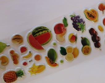sheet of 25 fruit scrapbooking stickers